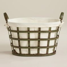 Made of metal with a patina finish, our Skyler Metal Laundry Basket is an attractive solution for carrying loads to and from the washer. Industrial Furniture, Metal Laundry Basket, Laundry Baskets, Linen Baskets, Metal Sink, Laundry Room Inspiration, Vintage Laundry, Small Bathroom Storage, Dekoration