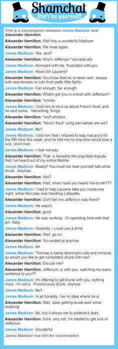 A conversation between Alexander Hamilton and James Madison My roleplays as A. Ham