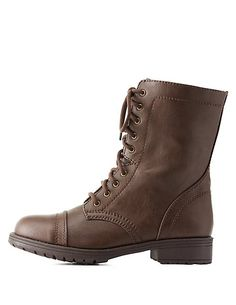 Lace-Up Combat Boots   Charlotte Russe