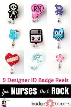 These are all SO cute! I want to get a bunch and change them out. 9 Designer ID Badge Reels for Nurses that Rock