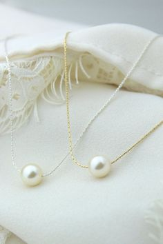 Ivory Single Pearl Necklace Cream Floating Pearl by ForTheMaids
