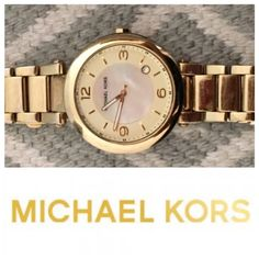 Michael Kors Large Face Gold & Opal Watch Beautiful MK Gold watch. Amazing simple face with opal background - Used (The face is in great condition, but the strap has some tarnishing from normal wear and tear. Not that noticeable when you wear it: pictured) - Face displays the date as well! - It needs a new battery (usually around $10 to replace) Michael Kors Accessories Watches