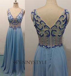 Charming Prom Dress,Beading Prom Dress,A-Line Prom Dress,V-Neck Evening Dress P622