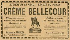 """Démangeaisons, gerçures, rougeurs la crème #Bellecour apaise les peaux, tout en agissant sur le teint... Une crème qui porte le nom du lieu de son point de vente principal, la #pharmacie Françon place Belecour à #Lyon. Une époque où peu de contrôle sont effectués sur les produits et où les #publicités ventent une """"jeunesse éternelles"""" #CulturePub #numelyo #Lyon #beauté"""