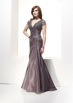 Tulle Taffeta V-neck A Line Mother of the Bride Dress