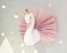 Cute Golden Crown Swan Wall Art Hanging Girl Swan Doll Stuffed Toy Animal Head Wall Decor for Kids Room Birthday Wedding Giftswan wall hanging baby shower gift ideas, baby shower, it's a girl, it's a boyBeautiful swan princess wall hanging, a must ha Baby Nursery Decor, Nursery Room, Girl Nursery, Girl Room, Baby Room, Bedroom, Child Room, Princess Room, Princess Canopy