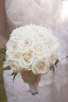Gold, Burgundy and Pink Inspired Wedding White rose bridal bouquet with spray of diamonds White Rose Bouquet, White Roses Wedding, Rose Bridal Bouquet, Bride Bouquets, Bridesmaid Bouquet, Flower Bouquets, Prom Flowers, Bridal Flowers, Flower Girl Headpiece