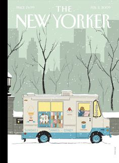 New Yorker. Illustration: Chris Ware good colour palette and all very simple shapes which highlight details on truck.