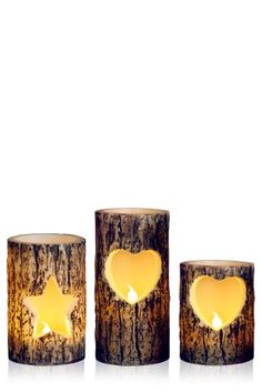 Set Of 3 Winter Spruce Fragranced LED Candles - £16