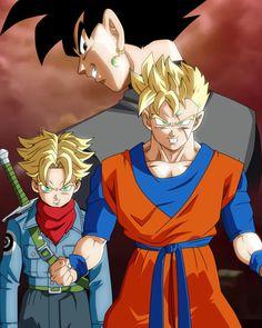 Future Gohan And Trunks VS Black Goku (SS) by Akaggi