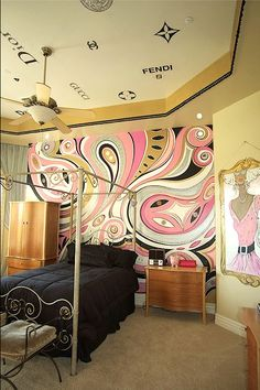 Love this paisley wall mural!