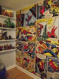 Boy Room For Toddlers Marvel Comics wall mural. It looks amazing in the figure room. Every big boys dream room almost complete. Boys Superhero Bedroom, Marvel Bedroom, Avengers Bedroom, Kids Bedroom, Bedroom Decor, Bedroom Ideas, Bedroom Storage, Room Girls, Bedroom Red