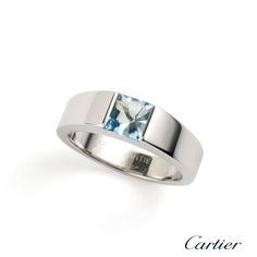 Cartier 18k White Gold Aquamarine Tank Ring Size 55  http://www.richdiamonds.com/product/cartier-18k-white-gold-aquamarine-tank-ring-size-55/3115