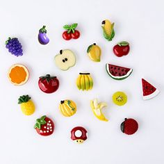 Lily: Fun fridge magnets. Anything fun and colorful like this. Pack of 19 Fruit Fridge Magnet Home Decoration Banana Ora...