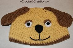fb5b141e0e4 Amy s Crochet Creative Creations  Crochet Puppy Dog Child hat ~ Link  correct and pattern is FREE when I checked on USA terminology Newborn to  Adult