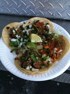 Carne asada y pastor tacos from Ixtapa food truck off 95 in New Haven, CT.