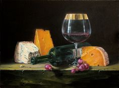 Classical realism oil painting. Fine art still life of wine and cheese. Oil on canvas