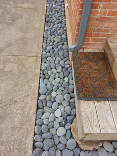 River rock: A big solution for your small landscape. - Roundtree Landscaping - D. River rock: A bi River Rock Landscaping, Stone Landscaping, Landscaping With Rocks, Outdoor Landscaping, Front Yard Landscaping, Landscaping Ideas, River Pebbles, River Stones, River Rocks