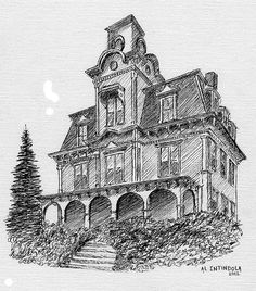 Sketchbook inspiration, line drawing, halloween stuff, pencil drawings, old Pencil Drawings Of Girls, Pencil Drawing Tutorials, Art Drawings, Haunted House Drawing, Steampunk City, Building Drawing, Woman Sketch, House Sketch, Sketchbook Inspiration