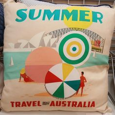 Love this Vintage Australian Travel poster theme cushion that I saw/photographed in a store!