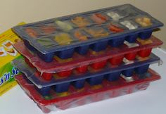 Toddler meals in ice cube trays - make ahead and wrap with press & seal