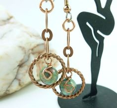 Copper and Crazy Lace Agate Round Gemstone Earrings 2 inch Length   dianesdangles - Jewelry on ArtFire