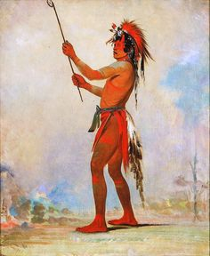 We-chúsh-ta-dóo-ta, Red Man, A Distinguished Ball Player -- 1835 -- George Catlin -- American -- Oil on canvas -- Smithsonian American Art Museum, Washington. Plains Indians, Indian Pictures, Aboriginal People, Native American Tribes, Native Indian, First Nations, Art Museum, Oil On Canvas, Painting