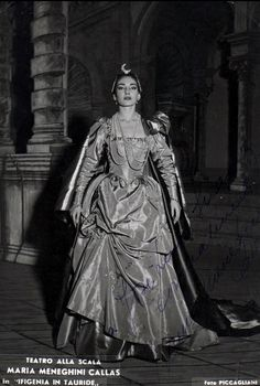 """Maria Callas in a promotional photo by Piccagliani for """"Iphigénie en Tauride"""" (1957)."""