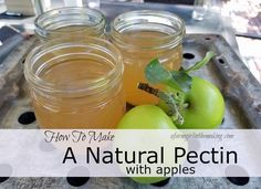 How to make homemade natural fruit-pectin using unripe, tart apples.  http://afarmgirlinthemaking.com