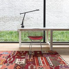 Tapis kilim en laine rouge enjoy ligne pure 170x240 - Tapis Cosy
