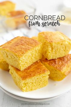 A piece of bread on a plate, with Cornbread and Butter Buttery Cornbread Recipe, Cornbread Recipe From Scratch, Southern Cornbread Recipe, Honey Cornbread, Homemade Cornbread, Cornbread Muffins, Cornbread Recipes, Homemade Breads, Southern Recipes