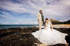 Makapuu Beach | Oahu Wedding | Image of the Week Bride and groom on the lave rocks at Makapuu beach Oahu, Hawaii #wedding #destinationwedding #beach #Island #drama #oahu #hawaiiweddingphotographer