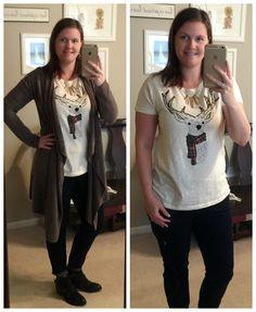 What I Wear: Mom Style #9- Reindeer tee, moto skinny jeans & the blardigan!