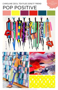 FASHION VIGNETTE: TRENDS // CAROLINE CECIL TEXTILES - F/W 2016-17 As people begin to give more weight to the health and wellness benefits of play, we see an emergence of the absurd in fashion and art. This megatrend mixes pop art colors and abstract prints of the 80's with preppy plaids and other flamboyant prints. The mood is mischievous and optimistic.
