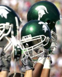 Football season is here! Go Green! Michigan State Football Helmets Picture at Michigan State Spartan Photos