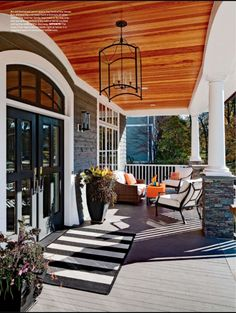 way to pull some black and white outside onto this beautiful porch