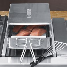 Stovetop Smoker - Gourmet Mini x x Stainless Steel Smoker With Wood Chips - Works Over Any Heat Source, Indoor or Outdoor Kitchen Tools, Kitchen Gadgets, Kitchen Appliances, Cooking Gadgets, Cooking Tools, Small Smoker, Stovetop Smoker, Charcoal Smoker, Clean Grill