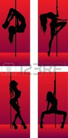 set of silhouettes striptease dancing girls Stock Photo - 13468990 #PoleDanceSilhouette