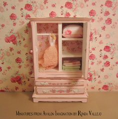 1:12th Scale Miniature dollhouse Shabby Chic Armoire in pink with rose print - includes dress and linens by MiniaturesfromAvalon