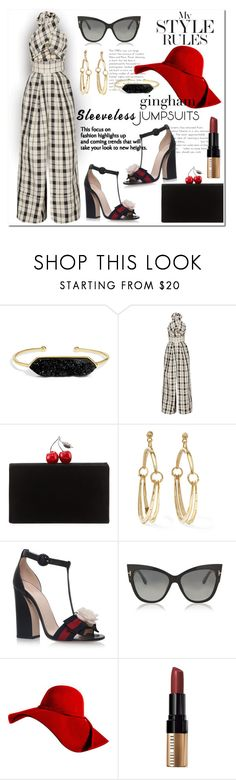 """Sleeveless Jumpsuits"" by wanda-india-acosta ❤ liked on Polyvore featuring BaubleBar, Rosie Assoulin, Edie Parker, Chloé, Gucci, Tom Ford and Bobbi Brown Cosmetics"