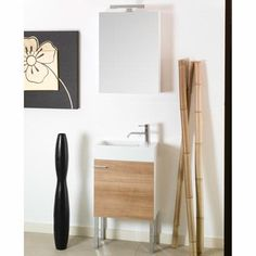 Iotti by Nameeks Lola Single Wall Mounted Bathroom Vanity Set with Mirror Base Finish: Natural Oak Very Small Bathroom, Bathroom Sets, Modern Bathroom, Bathroom Cabinet With Drawers, Mdf Furniture, Wooden Closet, Vessel Sink Vanity, Drawer Design, Vanity Set With Mirror