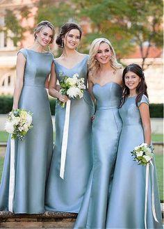 Fantastic Satin Blue Strapless Cap Sleeves Floor-length A-line Long Bridesmaid Dresses,WGY0191