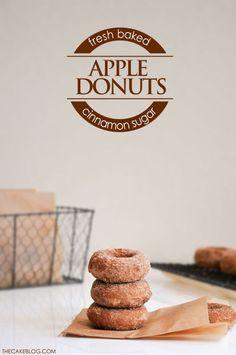 Baked Apple Donut Recipe  |  TheCakeBlog.com **Convert to GF and use apple butter for better taste - fiddle with this as a base recipe to make it 'clean' and better**