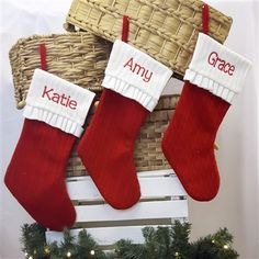 Personalised Christmas Stocking - Traditional Knitted Sock. A Classic Personalised Christmas Decoration. €20 | WowWee.ie