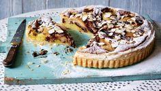 Pear and chocolate frangipane tart recipe - BBC Food Pear And Almond Tart, Pear Tart, Frangipane Recipes, Frangipane Tart, French Puff Pastry, French Apple Tart, Tart Recipes, Pizza Recipes, Sweet Recipes