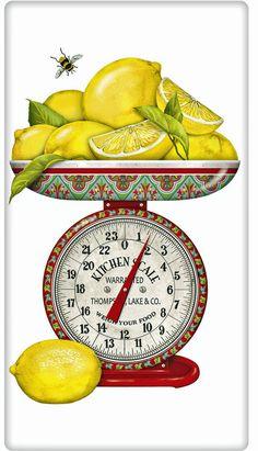 Lemons on a Scale 100% Cotton Flour Sack Dish Towel Tea Towel
