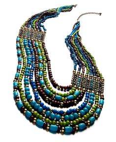 Style Necklace, Blue and Green Multistrand Necklace - Macy's