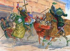 """""""Byzantine Imperial Guardsmen in action, 995"""", Giuseppe Rava. This important staff officer of the senior Tághma is based upon a portrait dated to 1007, of Iohannes, a Proximos with the court rank of Protospathários, who served under the Dhoux Theodorakan in the Théma of Armenia. Note his gilded klivanion, and the cross standard."""