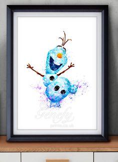 Disney Frozen Olaf Watercolor Painting Art Poster Print Wall Decor https://www.etsy.com/shop/genefyprints