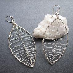 wire wrapped leaf earrings